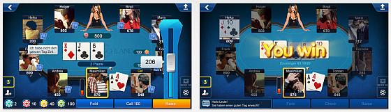 Poker Deutschland (hier die iPhone-Bildschirmdarstellung) zeigt den Poker-Tisch mit den Mitspielern. Wer wissen will, wie man spielt, findet die Anleitung unter dem Zahnrad bei den Einstellungen.