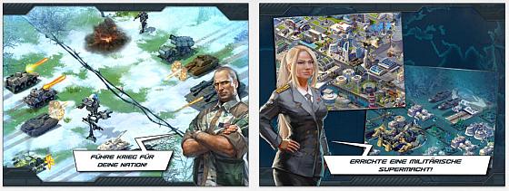 In World at Arms baust Du Deine Basis aus, produzierst Waffen und Fahrzeuge und trittst in Missionen gegen die KRA an. Du kannst auch andere Spieler angreifen und mit anderen Spielern Bündnisse schmieden.