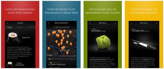 Alles was man an Infos  für die ersten eigenen Sushi braucht, liefert die App Sooshi in gut lesbarer Form. Und wenn man selbst nicht zur Tat schreiten möchte, kann die App nicht nur Restaurants empfehlen, sondern auch vor Ort beim Suhi essen ein informativer Begleiter sein.