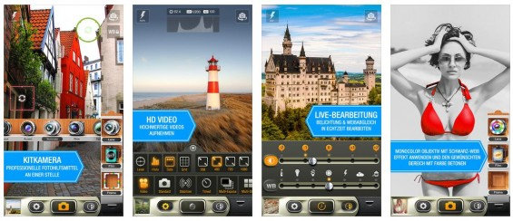 Sieht gut aus und ist vielfältig: KitCamera für iPhone und iPad. Eine echte Kit Camera kann es natürlich so für iPhone und iPad nicht geben, schließlich ist die Kamera selbst ja vorgegeben und kann nur über Softwarelösungen ein wenig innerhalb der technischen Machbarkeit ausgereizt werden. Dabei sind die Ergänzungen halt keine Objektive oder Filme, sondern Effekte und Filter.