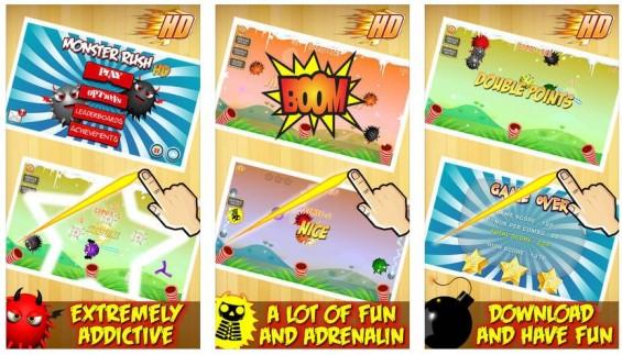 Monster Rush ist ein sehr schnelles Reaktionsspiel mit zwei Spielmodi: Der Endlos-Modus Classic und der 60-Sekunden Arcade-Modus.