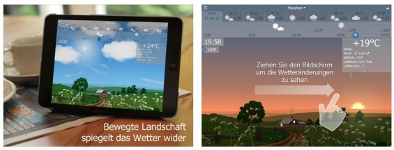 Das Besondere an YoWindow ist neben der animierten KLandschaftsdarstellung die Möglichkeit, sich per Fingerstrich das Wetter der nächsten Stunden anzusehen.