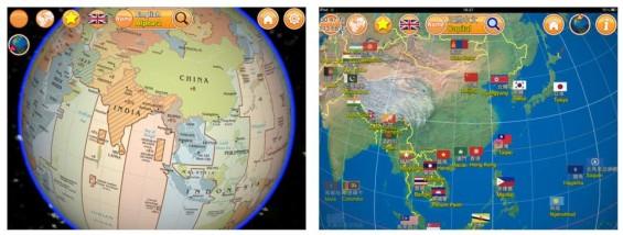 Globe Earth 3D bietet Dir einen Globus mit markierten Ländern, Flaggen und downloadbaren Hymnen. Zu jedem land sind Wikipedia-Einträge verlinkt.