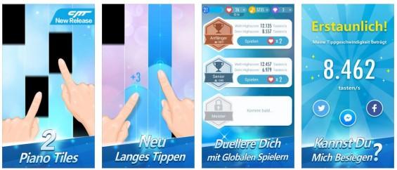 Tippe nur auf die schwarzen Tasten, bei manchen kannst Du den Finger etwas länger drauf lassen. In der Version 2 bietet Piano Tiles nun auch Herausforderungen gegen andere Spieler - aber das zu schaffen dürfte schwer werden...