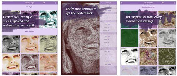 Die 160 voreingestellten Stile von Sketch Mee kann man mit verschiedenen Einstellungen noch anpassen.